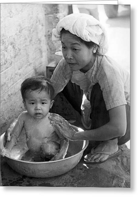 Vietnamese Orphan Bathing Greeting Card by Underwood Archives