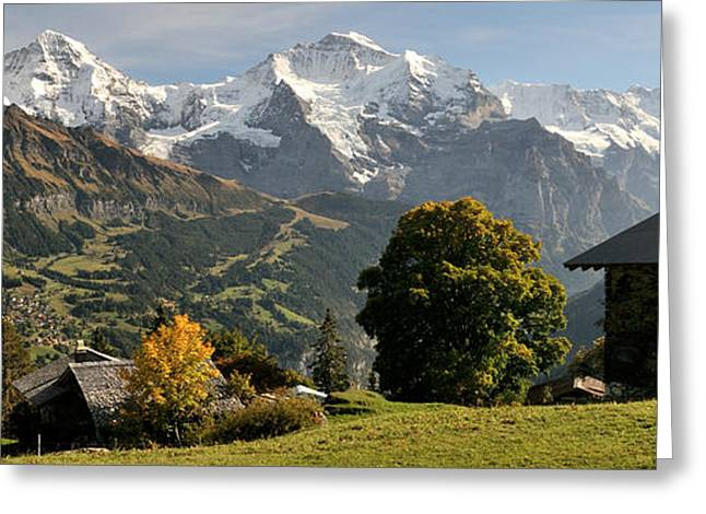 Berne Canton Greeting Cards - View Across Lauterbrunnen Valley Greeting Card by Panoramic Images