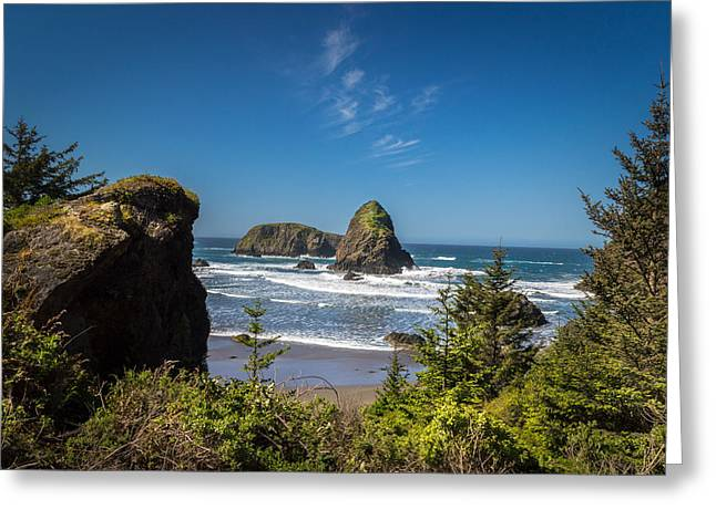 Adventure Greeting Cards - View Along Oregon Coast Greeting Card by Michael J Bauer