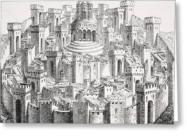 Medieval Temple Drawings Greeting Cards - View And Plan Of Jerusalem. Facsimile Greeting Card by Vintage Design Pics