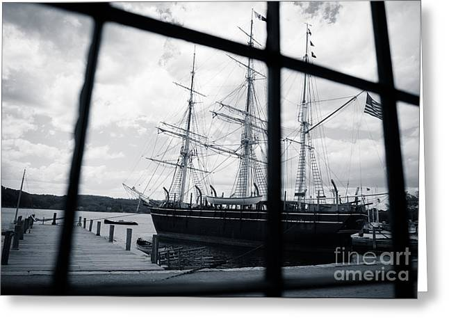 Sailing Ship Greeting Cards - View into the Past Greeting Card by Anna Serebryanik