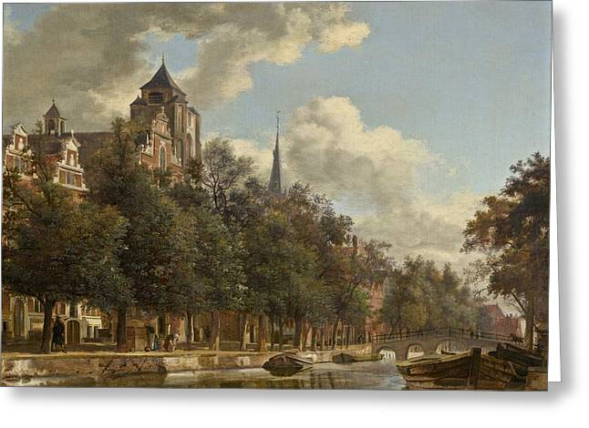Canal Street Line Greeting Cards - View Down A Dutch Canal Greeting Card by Jan Van Der Heyden