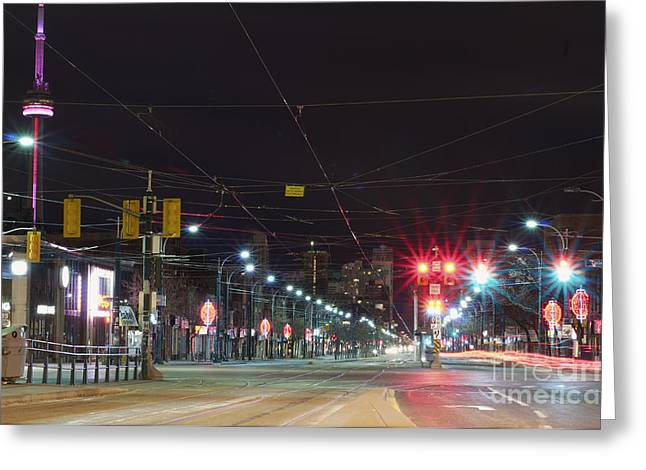Man Made Space Greeting Cards - View Down Spadina Ave At Night. An Greeting Card by Will Burwell