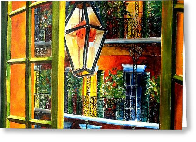 View from a French Quarter Balcony Greeting Card by Diane Millsap