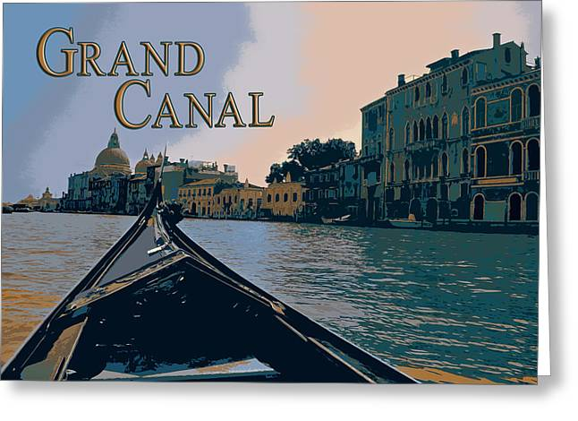 Silk Screen Greeting Cards - View from a Gondola in  Venice Italy TEXT GRAND CANAL Greeting Card by Elaine Plesser