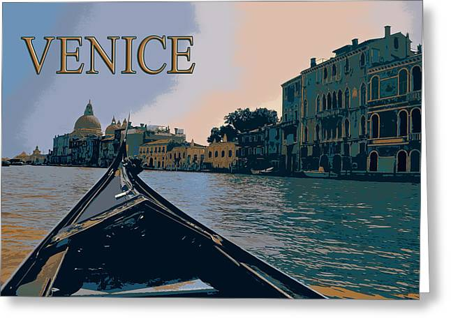 Silk Screen Greeting Cards - View from a Gondola in  Venice Italy TEXT VENICE Greeting Card by Elaine Plesser
