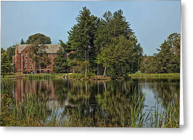 Uconn Greeting Cards - View from Across the Lake - UCONN Main Campus Greeting Card by Mountain Dreams