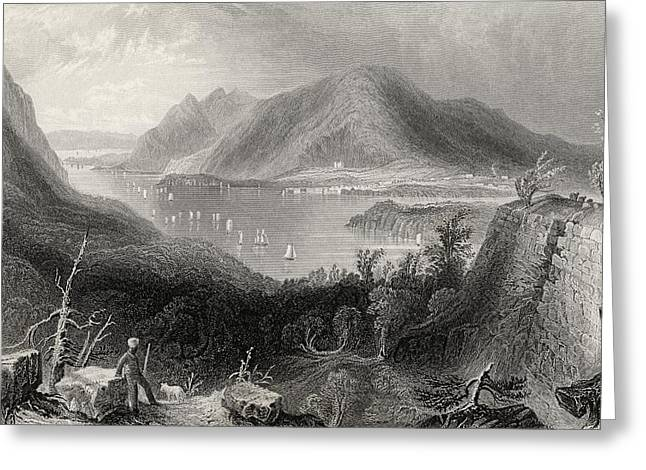 White River Scene Drawings Greeting Cards - View From Fort Putnam Hudson River Usa Greeting Card by Vintage Design Pics
