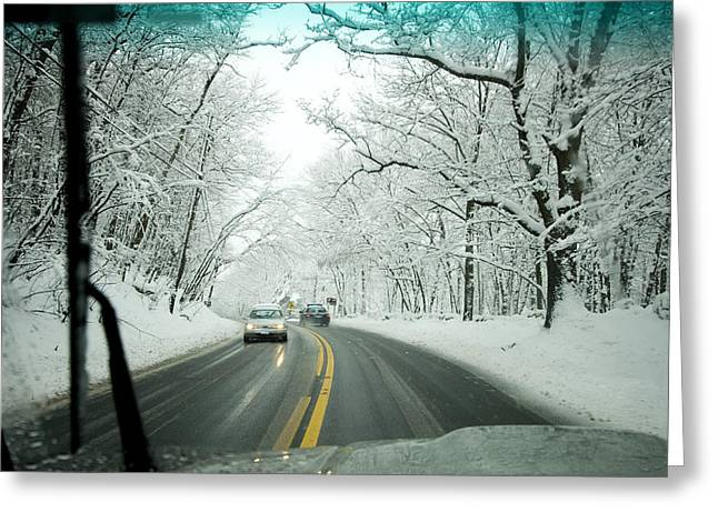View From Inside A Car, Driving Greeting Card by Tim Laman
