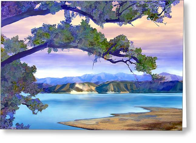 View From Mohawk  Lake Cachuma Greeting Card by Kurt Van Wagner