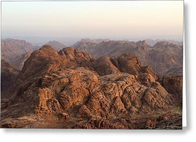 Sinai Mountain Greeting Cards - View from Moses mountain. Sinai. Greeting Card by Mikhail Zhirnov