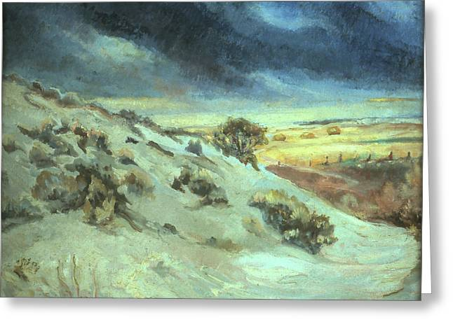 Snow Scene Landscape Greeting Cards - View from my Cabin Window Greeting Card by Willoughby  Senior