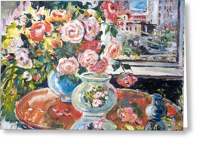 Interior Still Life Paintings Greeting Cards - View from my Studio Greeting Card by Ingrid Dohm