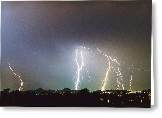 Scottsdale Lightning Photographs Greeting Cards - View from Oaxaca Restaurant  ll Greeting Card by James BO  Insogna