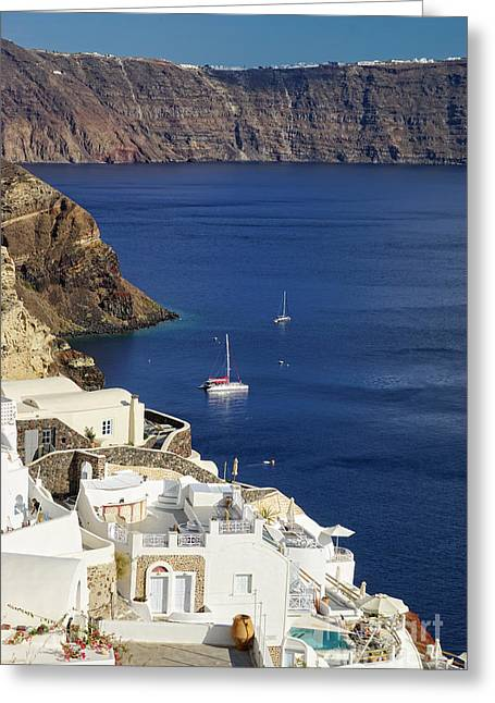 Oia Greeting Cards - view from Oia Greeting Card by HD Connelly