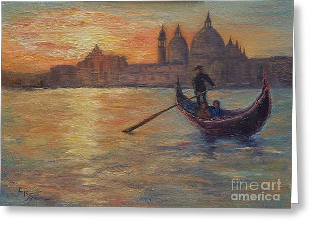 Greeting Cards - View from San Giogio Maggiore at Sunset Greeting Card by Lisa  Spencer