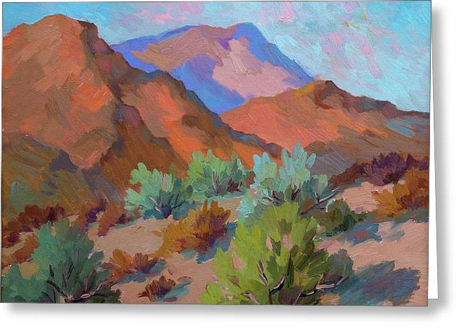 Visitors Paintings Greeting Cards - View from Santa Rosa - San Jacinto Visitor Center Greeting Card by Diane McClary