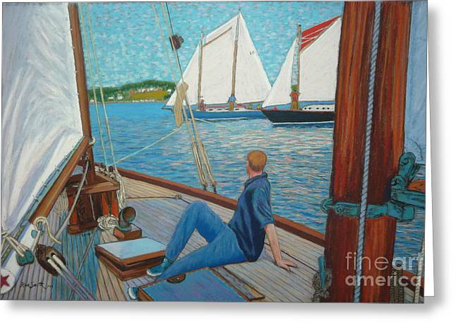 Schooner Pastels Greeting Cards - View from Schooner Avenger Greeting Card by Rae  Smith PSC
