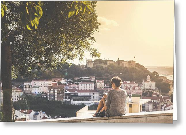 Graca Greeting Cards - View from Senhora do Monte Viewpoint Greeting Card by Andre Goncalves