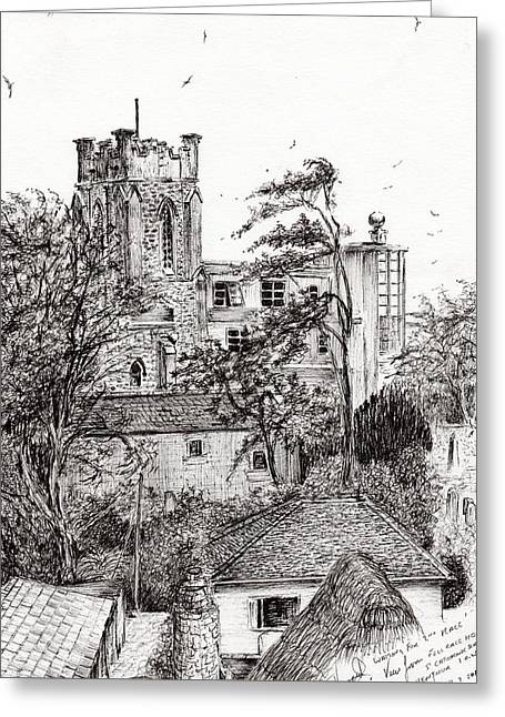 Isle Greeting Cards - View from St Catherines school Ventnor Greeting Card by Vincent Alexander Booth