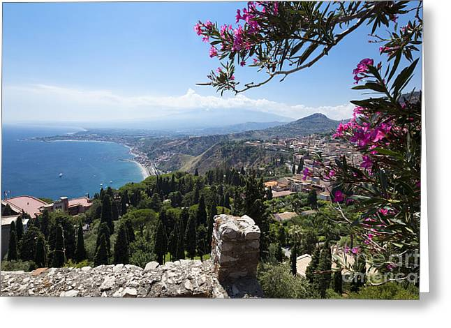 Sicily Greeting Cards - View from Teatro Greco in Taormina to the cloud-shrouded Mount Etna Greeting Card by Wolfgang Steiner