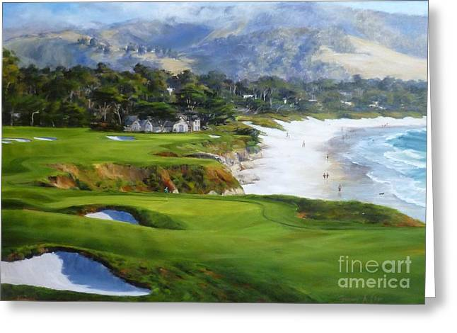 9th Hole Greeting Cards - View From the 9th Greeting Card by Shelley Cost