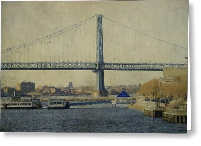 Ben Franklin Bridge Greeting Cards - View From The Battleship Greeting Card by Trish Tritz