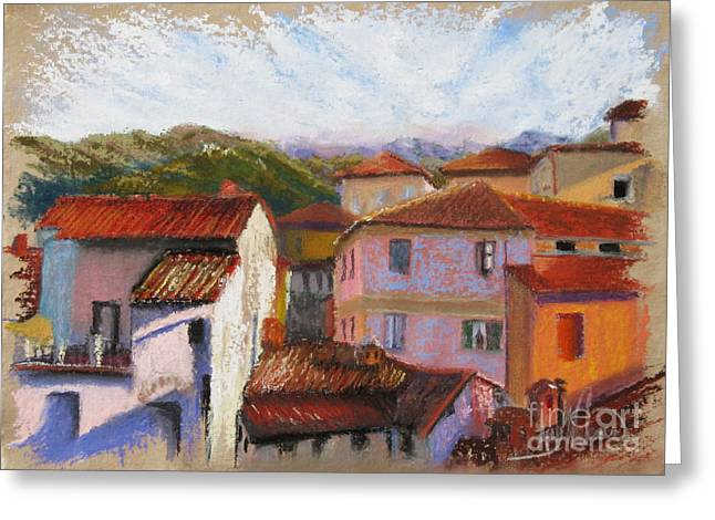 Italian Landscape Pastels Greeting Cards - View From the Big Room Greeting Card by Leah Wiedemer