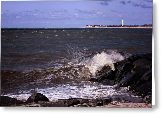 Lighthouse By The Sea Greeting Cards - View From The Cove Greeting Card by Tom Singleton