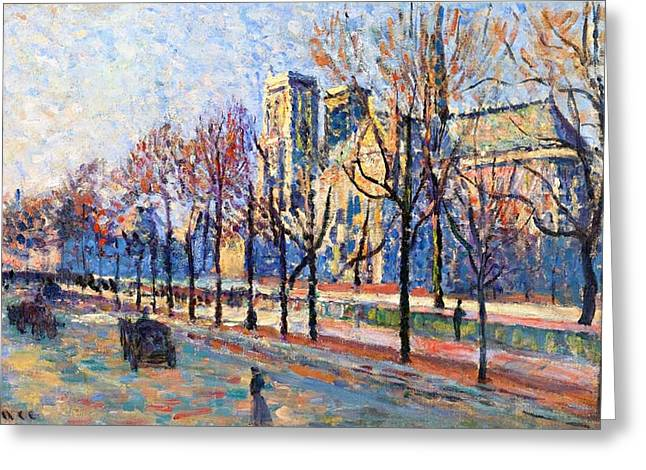 Tree Lined Greeting Cards - View from the Quay Montebello Greeting Card by Maximilien Luce
