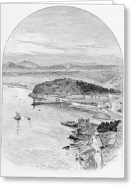 Nice Drawings Greeting Cards - View From The Road To Fort Montalban Greeting Card by Vintage Design Pics