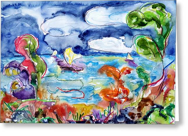 Abstract Movement Greeting Cards - View from the Shore Greeting Card by Laurel Schoolar