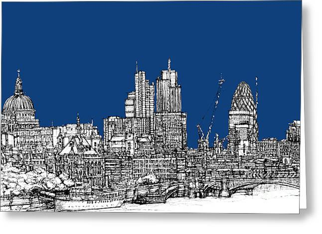 Ink Pyrography Greeting Cards - View from the Southbank with summer blue skies Greeting Card by Lee-Ann Adendorff