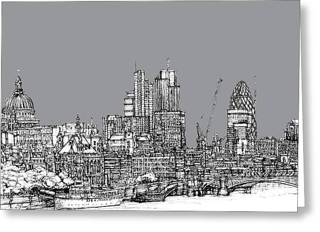 Steel Greeting Cards Greeting Cards - View from the Southbank with summer in cool grey  Greeting Card by Lee-Ann Adendorff