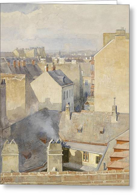 View From The Studio In The Klagbaumgasse In The 4th District Around 1890 Greeting Card by Marie Egner