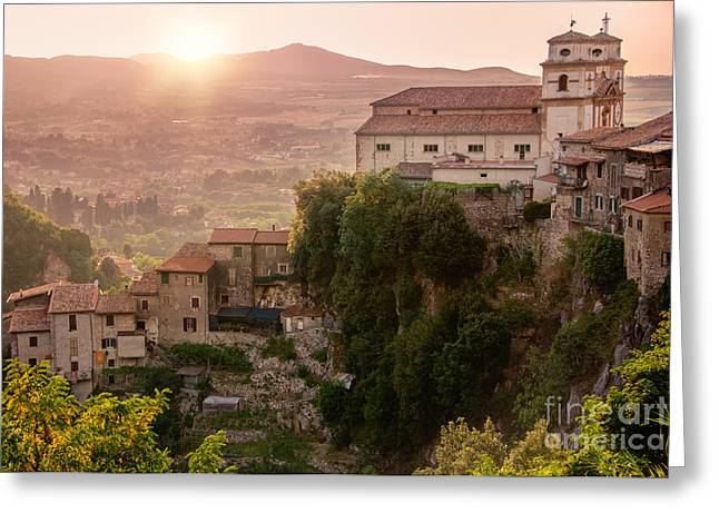 Italian Sunset Greeting Cards - View From the Top of Artena Italy Greeting Card by Elisabeth  Ansley