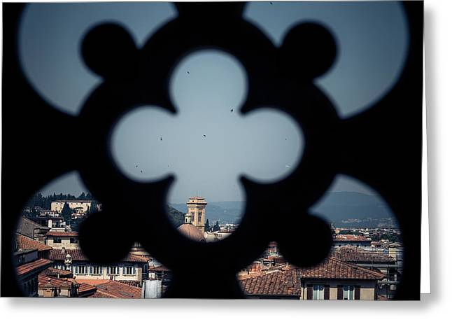 Historic Architecture Greeting Cards - View from the tower Greeting Card by Chris Fletcher