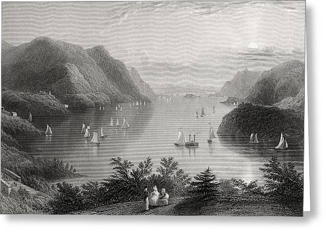 Black American Drawings Greeting Cards - View From West Point Hudson River Usa Greeting Card by Ken Welsh