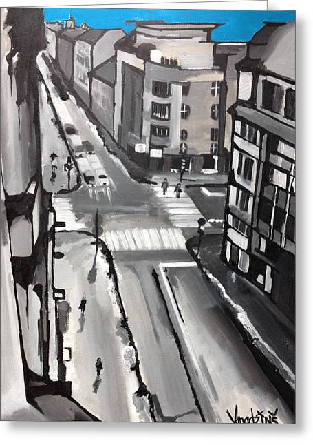 Illustrative Mixed Media Greeting Cards - View From Window Greeting Card by Rinalds Vanadzinsh