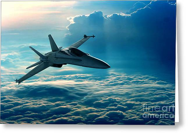 View Of A Fighter Jet Above The Clouds Greeting Card by Caio Caldas