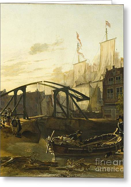 Adam Drawings Greeting Cards - View of a Harbor in Schiedam Greeting Card by Celestial Images