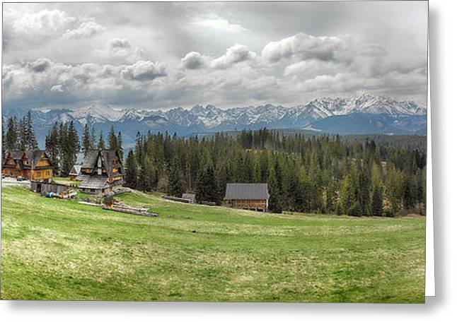 Recently Sold -  - Mountain Valley Greeting Cards - View Of A Small Village, Tatra Greeting Card by Panoramic Images
