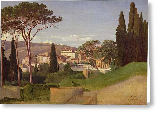 Romaine Paintings Greeting Cards - View of a Villa Greeting Card by Jean Achille Benouville