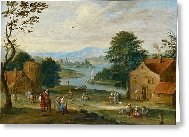 View Of A Village By A River Greeting Card by Karel Breydel