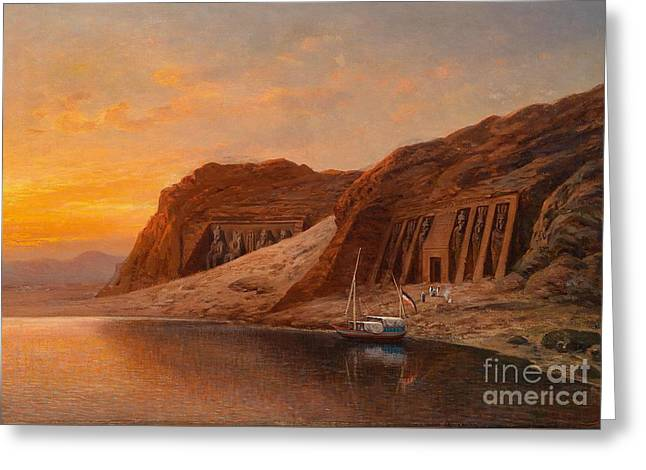 1833 Greeting Cards - View of Abu Simbel Greeting Card by Celestial Images