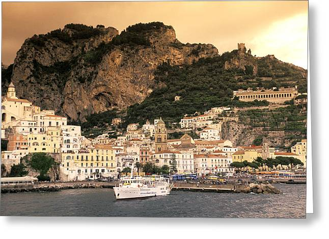 Amalfi Sunset Greeting Cards - View Of Almafi, Italy Including Greeting Card by Richard Nowitz