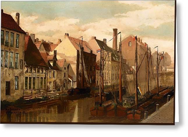 Historic Home Greeting Cards - View Of Antwerp Greeting Card by Van Ham Kunstauktionen