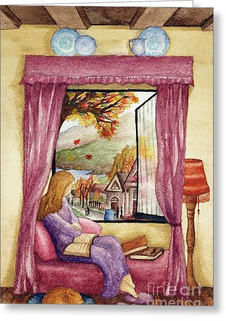 Purple Couch Greeting Cards - View of Autumn Scene Greeting Card by Evelyn Sichrovsky