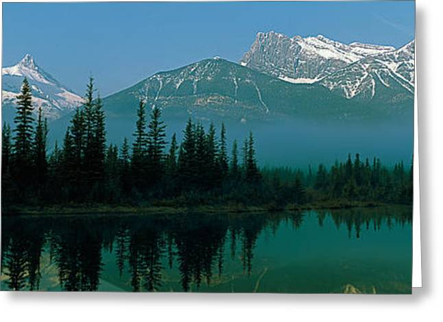 Reflections In River Greeting Cards - View Of Beaver Pond, Three Sisters Greeting Card by Panoramic Images