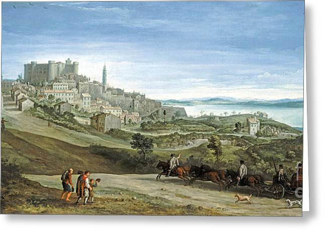 People Paintings Greeting Cards - View of Bracciano Greeting Card by Paul Bril